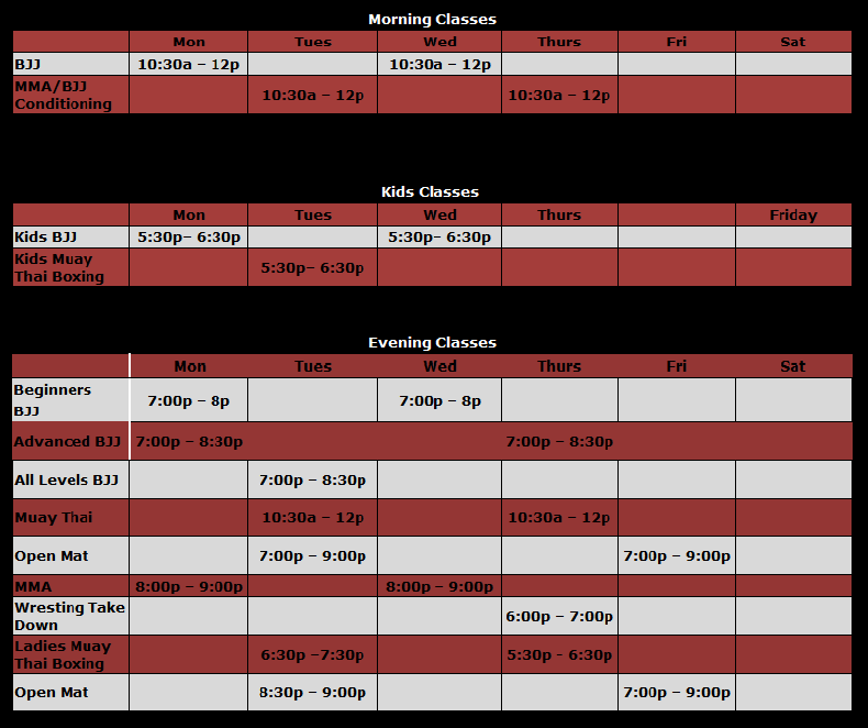 Classes and Schedule